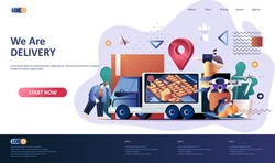 Delivery service flat landing page template. Express delivery service, fast global and local shipping web banner. Online ordering, delivery at home 3d composition. Web page vector illustration.