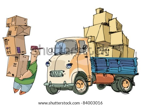 delivery service - lorry and loader
