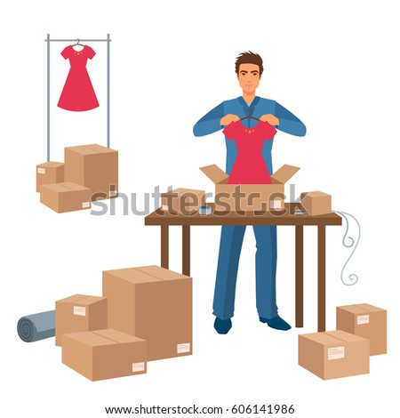 Delivery service man packs dress purchase in box. Preparing to move, packing things into boxes. Cartoon illustration isolated on white background.