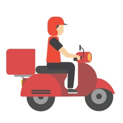 Delivery service man riding a red scooter with red attire and helmet. Food delivery. Fast worldwide shipping.