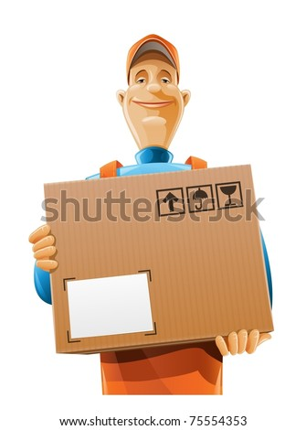 delivery service man with box vector illustration isolated on white background