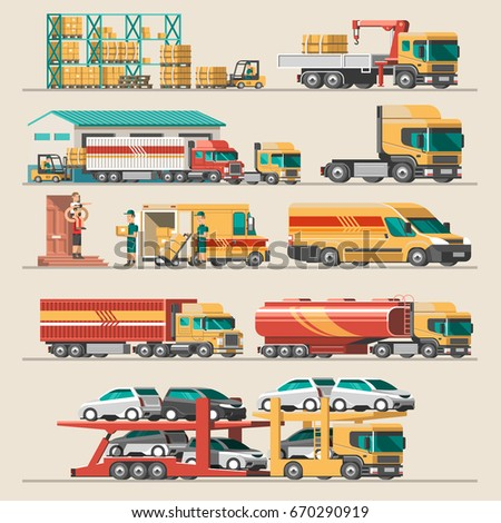 Delivery service set. Delivery car, container cargo, loader, truck loader, carrier truck, gas truck, warehouse. Flat style vector illustration.