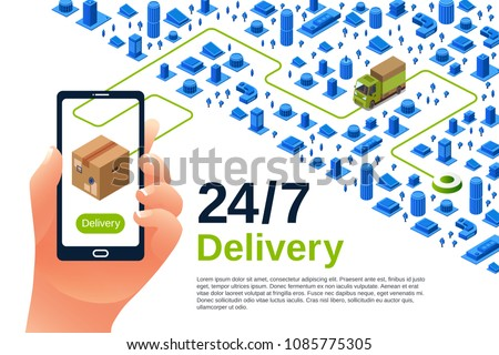 Delivery service vector illustration of isometric logistics poster for advertising design template. 24 7 delivery truck and smartphone application for parcel shipment tracking map