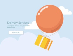 Delivery Services and E-Commerce. Packages flies in a air balloon.Flat elements isolated vector illustration
