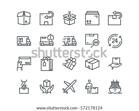 delivery set of outline vector
