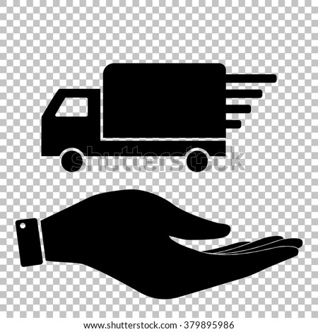 Delivery sign. Flat style icon vector illustration.