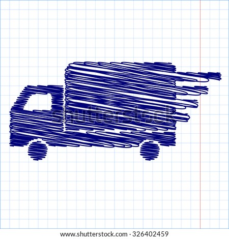 Delivery sign illustration with pen and school paper effect