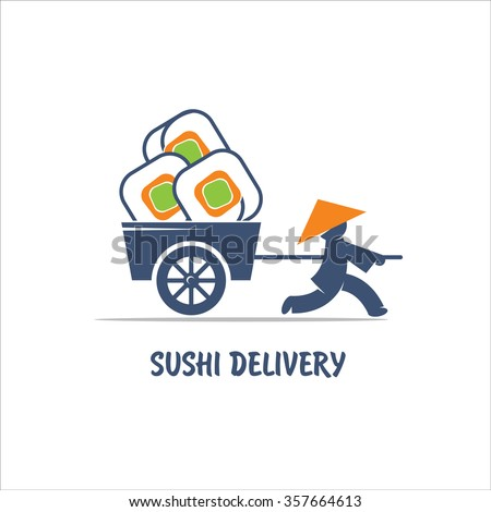 Delivery sushi. Vector logo. A Chinese man with cart.