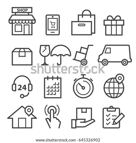 Delivery Thin Line Icons