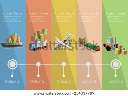 Delivery  time line and transportation icons. Vector illustration.