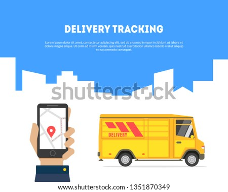 Delivery Tracking Banner, Hand Holding Smartphone with App, Online Track Service Vector Illustration