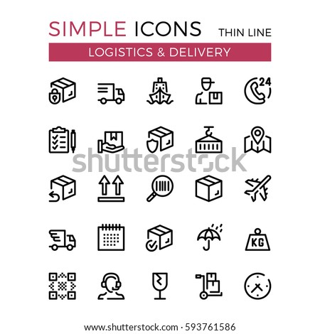 Delivery, transportation, logistics, shipping vector thin line icons set. 32x32 px. Modern line graphic design for website, web design, mobile app, infographic. Pixel perfect vector outline icons set