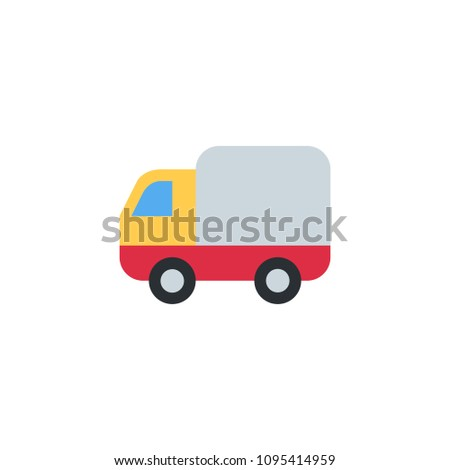 Delivery Truck, Articulated Lorry, car automobile side vector illustration flat icon symbol cartoon style
