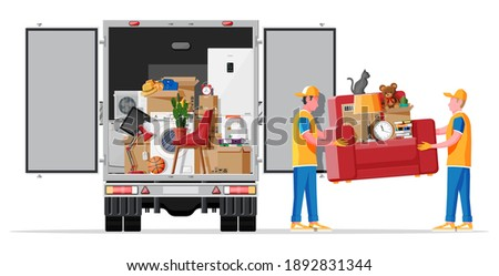 Delivery truck full of home stuff inside. Moving to new house. Family relocated to new home. Boxes with goods. Package transportation. Computer, lamp, clothes, books. Flat vector illustration Foto stock ©