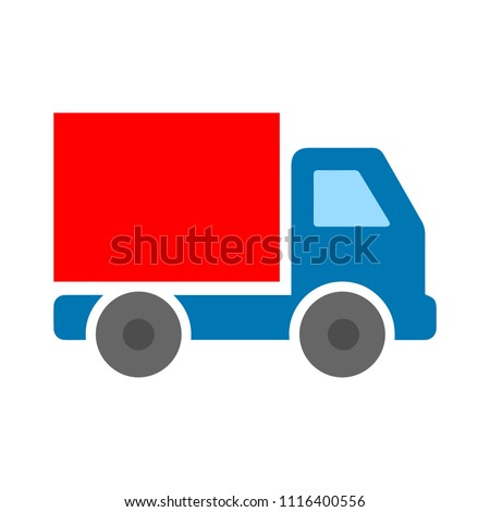 Delivery truck icon isolated on white background. Vector simple illustration
