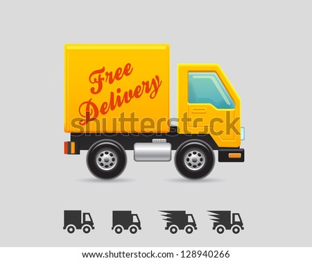 delivery truck icons - stock vector
