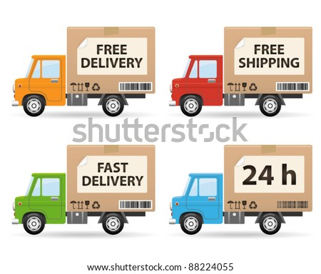 Delivery truck isolated on white background (side view)