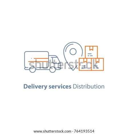 Delivery truck, move service, logistics company, courier, receive parcel box, vector line icon, thin stroke