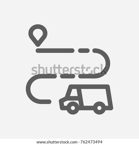 Delivery truck route icon line. Isolated symbol on delivery topic with delivery truck route icon and destination meaning vector illustration.