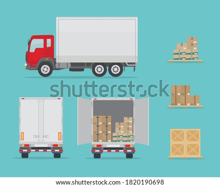 Delivery truck side and  back view, and different boxes. Isolated on blue background. Warehouse Equipment, cargo delivery, storage service concept. Flat style, vector illustration. Zdjęcia stock ©