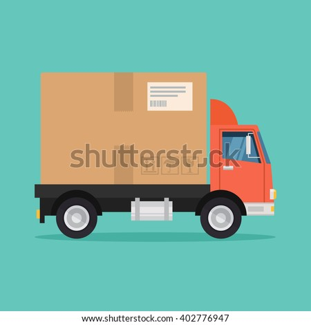 Delivery truck vector flat illustration. Fast delivery service concept. Postal service creative icon design.