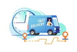 Delivery truck with man is carrying parcels. Vector illustration.