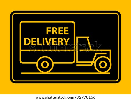 Delivery truck with text free delivery, vector illustration