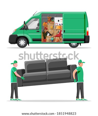 Delivery van full of home stuff inside. Moving to new house. Family relocated to new home. Boxes with goods. Package transportation. Computer, lamp, clothes, books. Flat vector illustration Photo stock ©