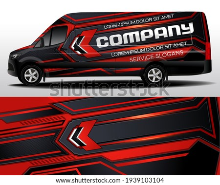 Delivery van vector design. Car sticker. Car design development for the company. Car branding. Car brand sticker in red and black
