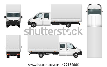 0217b5dacbae Delivery van vector template on white background. Isolated cargo minibus. All  elements in groups