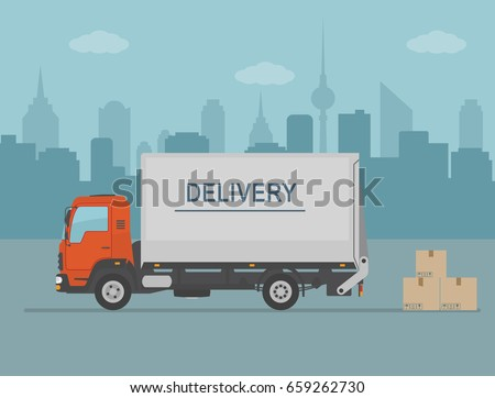 Delivery van with shadow and cardboard boxes on city background. Product goods shipping transport. Fast service truck