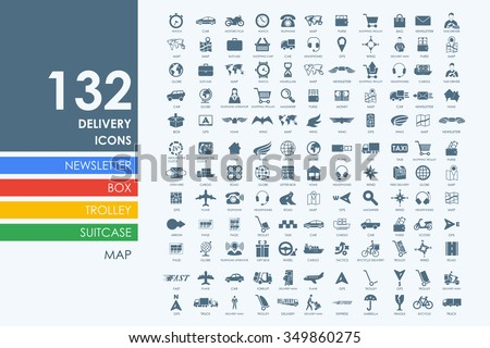 delivery vector set of modern simple icons