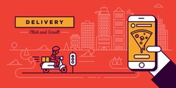 Delivery Website Banner in Flat Linear Vector Style