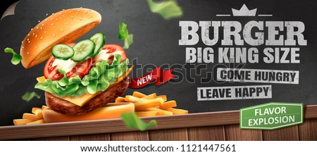 Deluxe king size burger ads with tasty toppings on blackboard background in 3d illustration