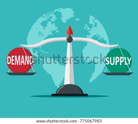 Demand and Supply balance on the scale. Business Concept.