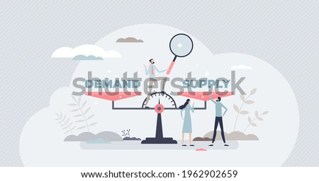 Demand supply scale balance for market sale management tiny person concept. Strategy planning analysis for efficient and competitive business vector illustration. Needs and offer forecast comparison. Stock photo ©