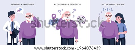 Dementia alzheimer design concept with square compositions of text and characters of elderly man and doctor vector illustration Сток-фото ©