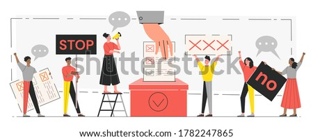 Democracy and freedom concept. Tiny people voting at polling stations. Freedom of speech, justice voting and opinion. Symbolic referendum and poll choice event. Flat vector illustration Сток-фото ©