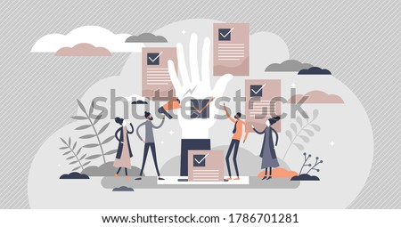 Democracy as government form with speech freedom flat tiny persons concept. Society opinion diversity ideology and decision making with vote and referendum option for fair result vector illustration. Сток-фото ©