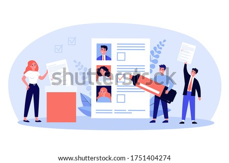 Democracy election flat vector illustration. Cartoon citizens voting during election, ballot or poll. Freedom, society ideology and constitution concept