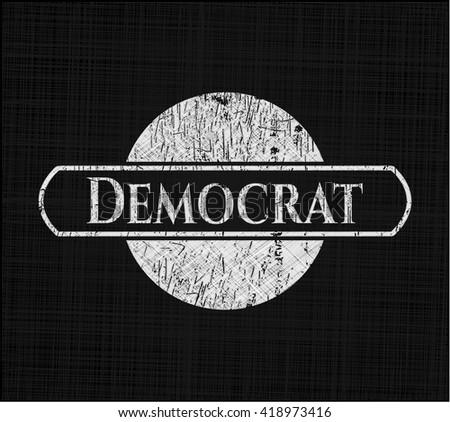 Democrat written on a blackboard