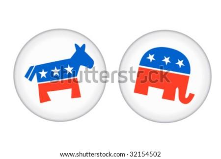 Democratic and Republican Buttons - Vector Illustrations