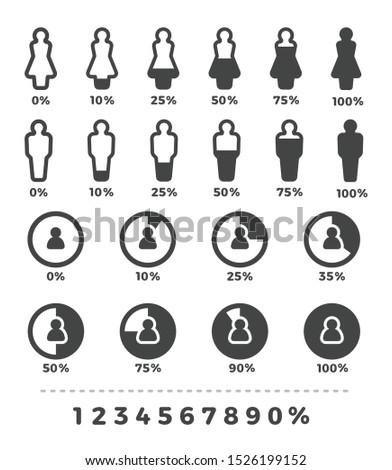 demographic and people with statistic icon set,vector and illustration