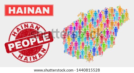 Demographic Hainan map abstraction. People bright mosaic Hainan map of persons, and red round unclean stamp. Vector composition for national mass report.