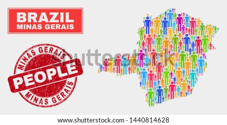 Demographic Minas Gerais State map illustration. People bright mosaic Minas Gerais State map of humans, and red round textured stamp. Vector combination for population group presentation.