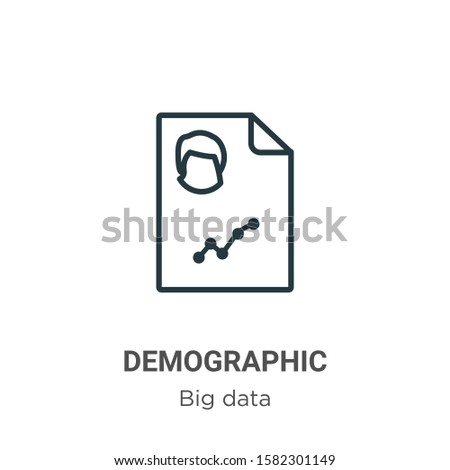 Demographic outline vector icon. Thin line black demographic icon, flat vector simple element illustration from editable big data concept isolated on white background