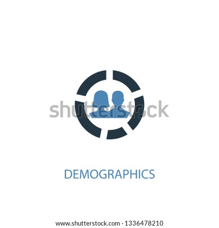 demographics concept 2 colored icon. Simple blue element illustration. demographics concept symbol design. Can be used for web and mobile UI/UX