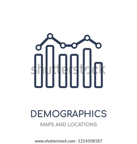 Demographics icon. Demographics linear symbol design from Maps and locations collection. Simple outline element vector illustration on white background.