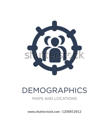 Demographics icon. Trendy flat vector Demographics icon on white background from Maps and Locations collection, vector illustration can be use for web and mobile, eps10