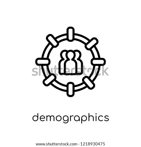 Demographics icon. Trendy modern flat linear vector Demographics icon on white background from thin line Maps and Locations collection, editable outline stroke vector illustration